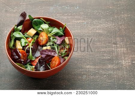 Fresh Spring Salad Mix With Tomatoes And Cheese