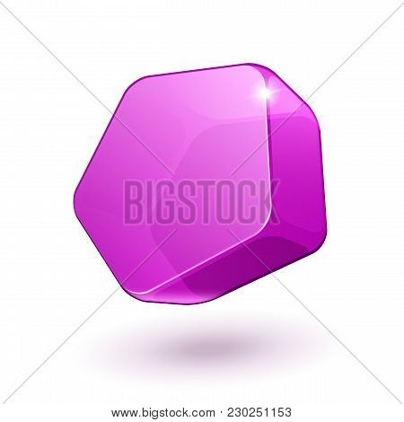 Pentagon Shiny Glass Bubble Banner Pink Violet Purple Eps10