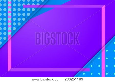 Saturated Purple Background With Violet Frame And Blue Dotted Corners