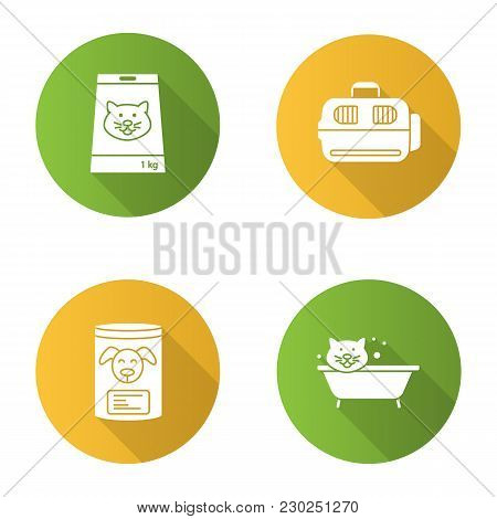 Pets Suuplies Flat Design Long Shadow Glyph Icon. Canned Pets Food, Bathing Cat, Domestic Animal Car