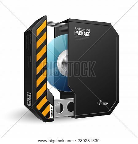 Opened Octagon Modern Black Software Package Box With Dvd Or Cd Disk For Your Product. Vector Eps10