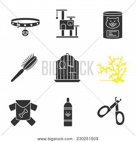 Pets Supplies Glyph Icons Set. Dog Collar, Cat House, Canned Food, Fur Brush, Birdcage, Aquarium Pla