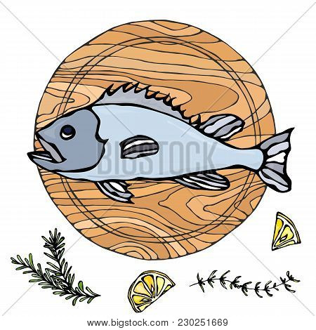 Whole Raw Fish On Round Cutting Board. For Cooking, Holiday Meals, Recipes, Seafood Guide, Menu. Han