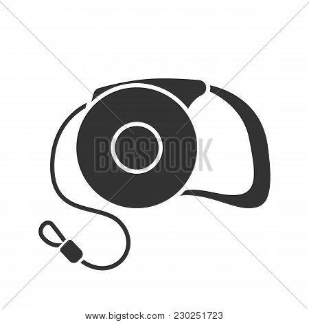 Retractable Pet Lead Glyph Icon. Dog Leash. Silhouette Symbol. Negative Space. Vector Isolated Illus