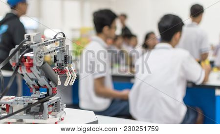 Robotic Lab Class With School Students Blur Background Learning In Group Having Study Workshop In Sc