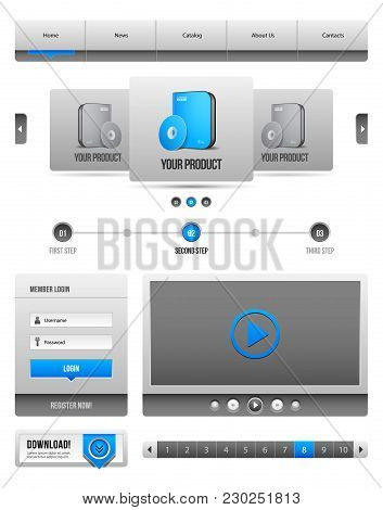 Modern Clean Website Design Elements Grey Blue Gray 2: Bar, Download, Pagination, Video, Player
