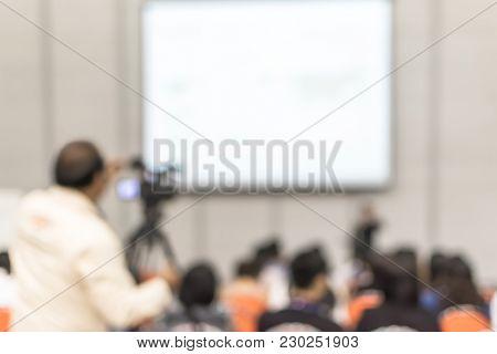 Seminar Training Blur Background Workshop Event Video Recording Camera Man And Speaker Lecturer Givi