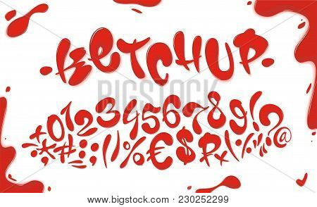Tomato Ketchup Hand Drawn Signs And Numbers Set Isolated On White Background. English Alphabet Set M