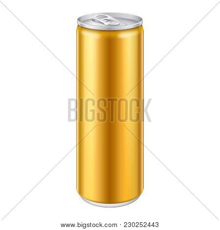 Gold Bronze Yellow Orange Metal Aluminum Beverage Drink Can. Ready For Your Design. Product Packing