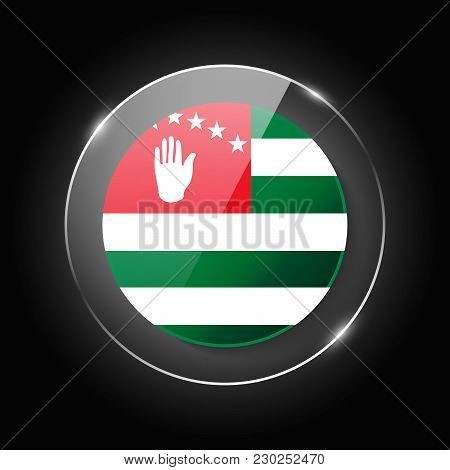 Abkhazia National Flag. Application Language Symbol. Country Of Manufacture Icon. Round Glossy Isola