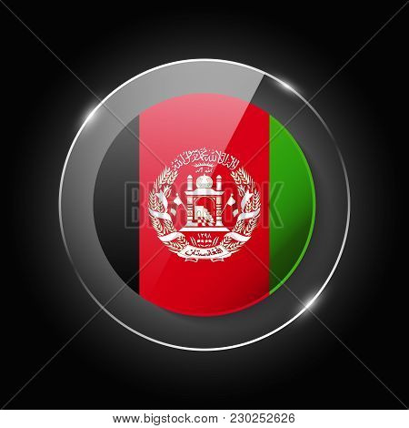 Afganistan National Flag. Application Language Symbol. Country Of Manufacture Icon. Round Glossy Iso