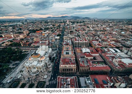 Top View On The Mexico City Streets And Palacio De Bellas Artes. Mexico