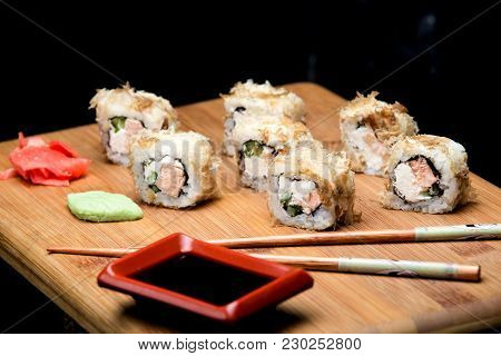 Japanese Food, Bonito Sushi With Fried Salmon And Cream Cheese. Homemade Sushi With Recipe, Diet Foo