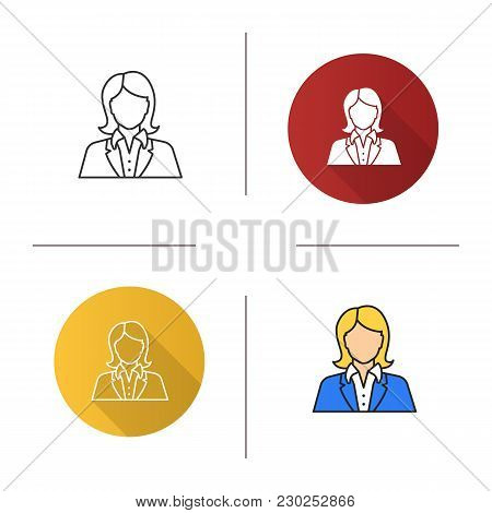 Office Worker Icon. Flat Design, Linear And Color Styles. Businesswoman, Admin, Manager, Secretary,
