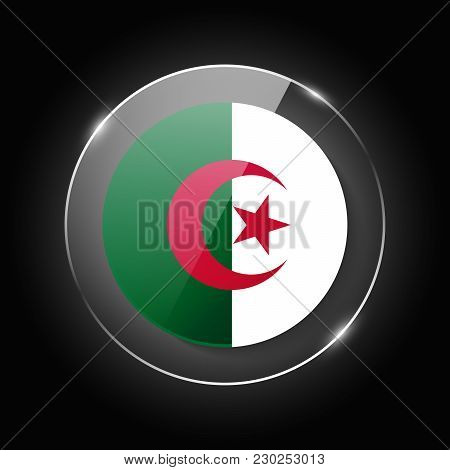 Algeria National Flag. Application Language Symbol. Country Of Manufacture Icon. Round Glossy Isolat