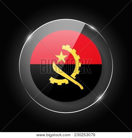 Angola National Flag. Application Language Symbol. Country Of Manufacture Icon. Round Glossy Isolate