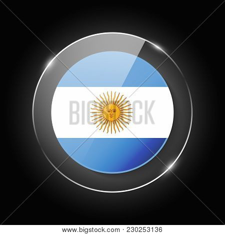 Argentina National Flag. Application Language Symbol. Country Of Manufacture Icon. Round Glossy Isol