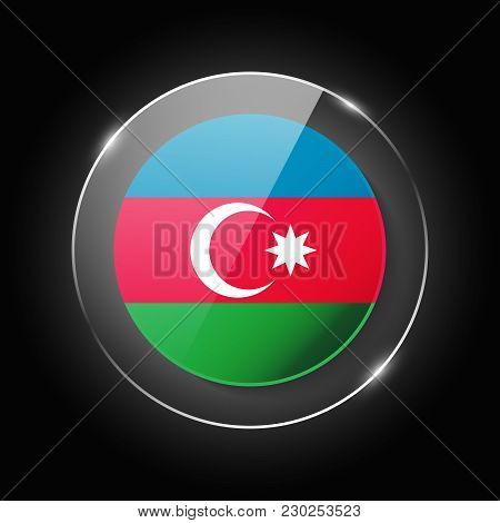 Azerbaijan National Flag. Application Language Symbol. Country Of Manufacture Icon. Round Glossy Iso