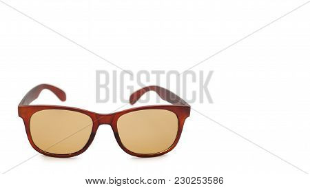 Burgundy Protective Sunglasses. Isolated On White Background. Copy Space, Template