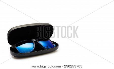 Open Protective Case With Sunglasses. Isolated On White Background. Copy Space, Template