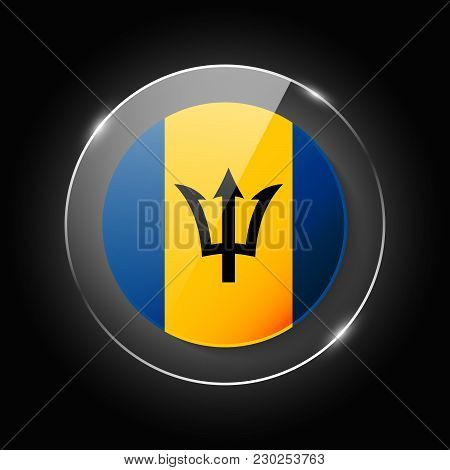 Barbados National Flag. Application Language Symbol. Country Of Manufacture Icon. Round Glossy Isola