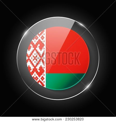 Belarus National Flag. Application Language Symbol. Country Of Manufacture Icon. Round Glossy Isolat