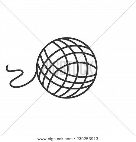 Knitting Yarn Clew Linear Icon. Thin Line Illustration. Wool Thread Ball. Contour Symbol. Vector Iso