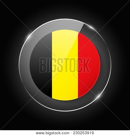 Belgium National Flag. Application Language Symbol. Country Of Manufacture Icon. Round Glossy Isolat