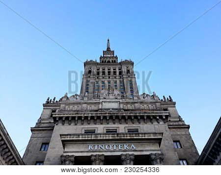 Warsaw, Poland - December 15, 2017: Palace Of Culture And Science, A Notable High-rise Building In T