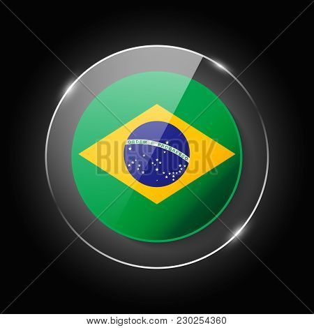 Brasil National Flag. Application Language Symbol. Country Of Manufacture Icon. Round Glossy Isolate