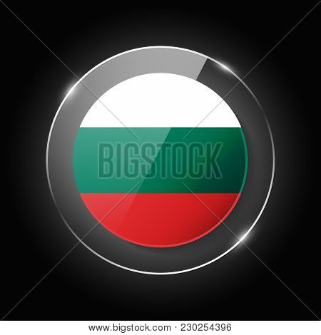 Bulgaria National Flag. Application Language Symbol. Country Of Manufacture Icon. Round Glossy Isola