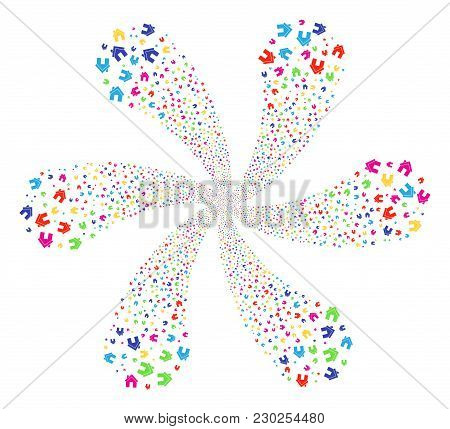 Multi Colored Home Swirl Fireworks. Suggestive Flower With Six Petals Composed From Random Home Symb