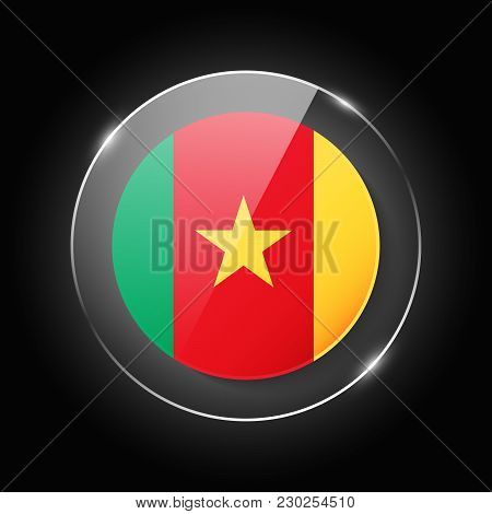 Cameroon National Flag. Application Language Symbol. Country Of Manufacture Icon. Round Glossy Isola