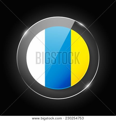 Canary Islands National Flag. Application Language Symbol. Country Of Manufacture Icon. Round Glossy