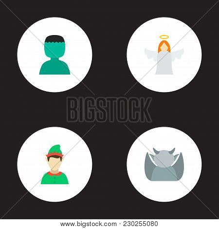 Set Of Character Icons Flat Style Symbols With Gargoyle, Gnome, Angel And Other Icons For Your Web M