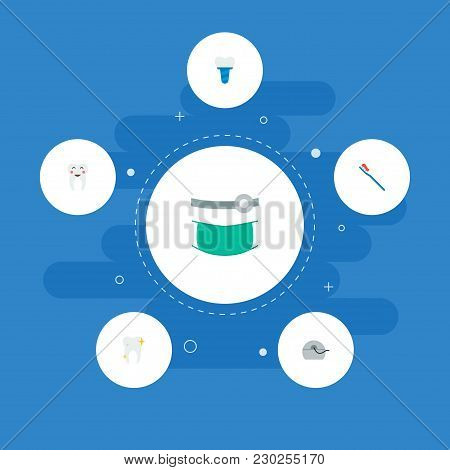 Set Of Enamel Icons Flat Style Symbols With Healthy, Toothbrush, Orthodontist And Other Icons For Yo