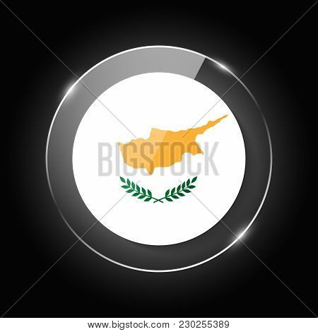 Cyprus National Flag. Application Language Symbol. Country Of Manufacture Icon. Round Glossy Isolate
