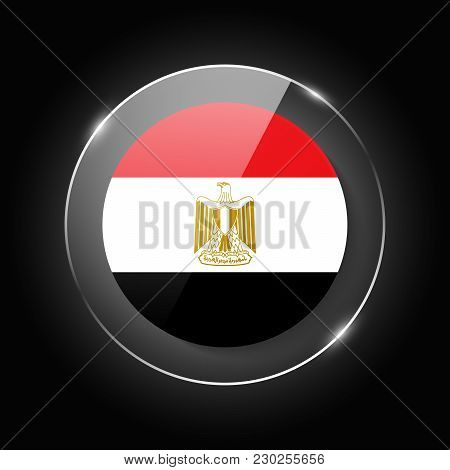 Egypt National Flag. Application Language Symbol. Country Of Manufacture Icon. Round Glossy Isolated
