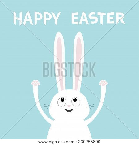 Happy Easter. White Bunny Rabbit Head Face Looking Up. Hand With Paw Print. Picaboo. Flat Design. Bi