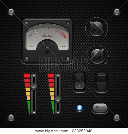 Carbon Ui Application Software Controls Set. Switch, Knobs,  Speedometr, Indicator, Detector, Led. W