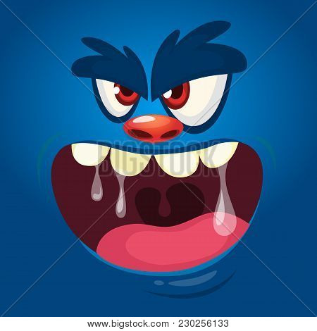 Mad Creepy Monster Screaming. Cartoon Vector Illustration Of Spooky Monster Face Avatar. Big Set Of