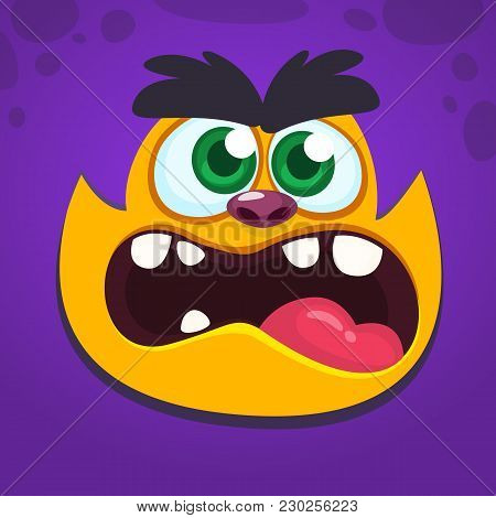 Angry Monster Screaming. Cartoon Vector Illustration Of Spooky Monster Face Avatar. Big Set Of Monst
