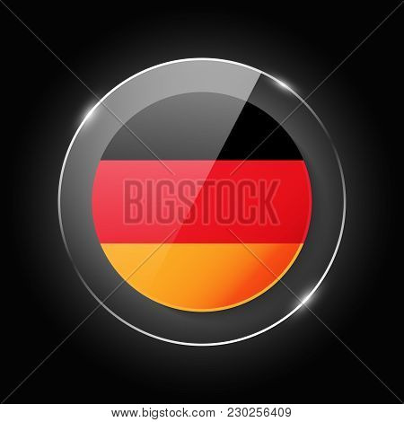 Germany National Flag. Application Language Symbol. Country Of Manufacture Icon. Round Glossy Isolat