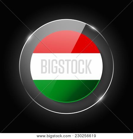 Hungary National Flag. Application Language Symbol. Country Of Manufacture Icon. Round Glossy Isolat