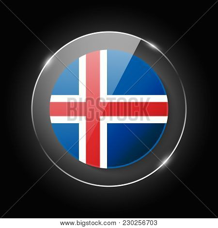 Iceland National Flag. Application Language Symbol. Country Of Manufacture Icon. Round Glossy Isolat