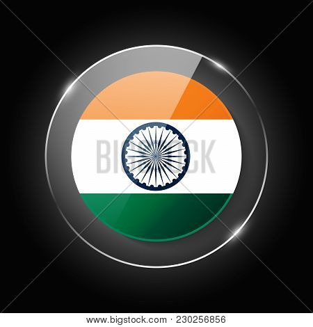 India National Flag. Application Language Symbol. Country Of Manufacture Icon. Round Glossy Isolated