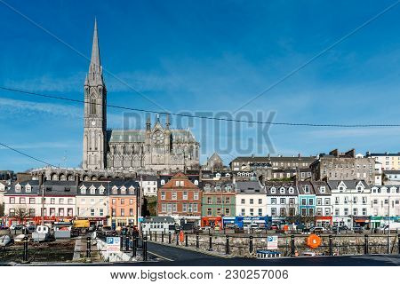 Cobh, Ireland - November 9, 2017: Waterfront Of Cobh With St. Colman Cathedral On Background A Sunny