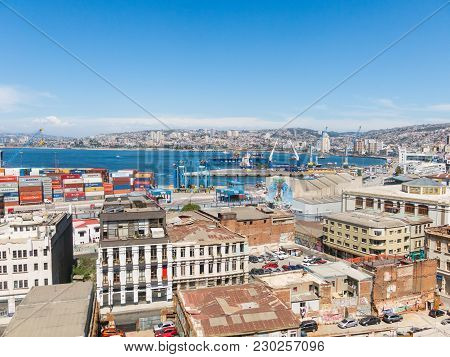 Valparaiso, Chile- January 2, 2018: The Busy Cargo Seaport In South America In Valparaiso, Chile. It