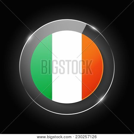 Ireland National Flag. Application Language Symbol. Country Of Manufacture Icon. Round Glossy Isolat