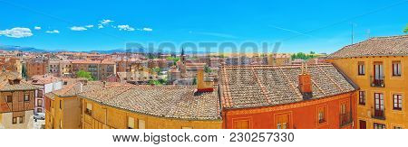 Panorama View Above Onthe City Of Segovia, Near Madrid, Spain.